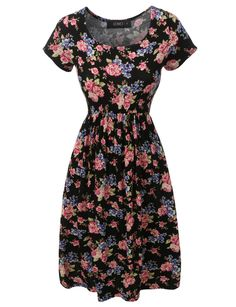 Feel and look fabulous in this floral print a-line skater dress. Cut from a lightweight, stretchy material that is ultrasoft on the skin, this dress will let you move comfortably all day long. This dr