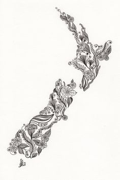 "my home. New Zealand Patterned Art Drawing 8x10"" Print Unframed."