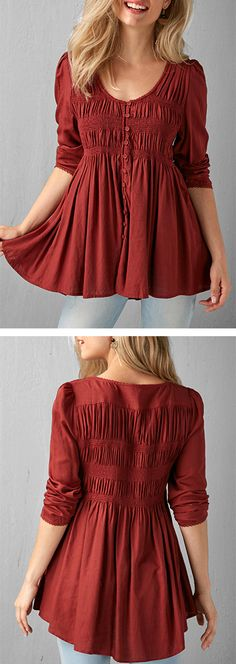 Pleated Button Up Wine Red Blouse.