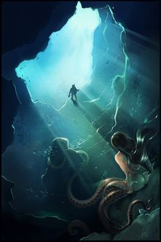 Fantasy Illustrations by Alexandra Khitrova, I absolutely love cecaelia. Fantasy Creatures, Mythical Creatures, Sea Creatures, Fantasy Mermaids, Mermaids And Mermen, Fantasy Kunst, Fantasy Art, Mermaid Art, Octopus Mermaid