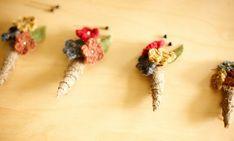 """Such a cute and creative idea for a boutineer--yay knitters!""__Portland DIY Wedding: Karyn + Noel"