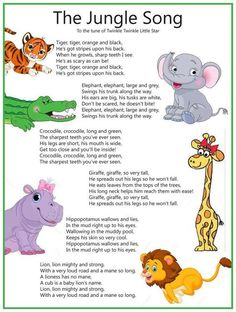 Classroom songs - I absolutely LOVE this and I dare you to start singing the verse with the hippopotamus without thinking about it! Kindergarten Songs, Preschool Music, Preschool Learning, Preschool Activities, Teaching, Preschool Classroom, Therapy Activities, Home School Preschool, Preschool Jungle