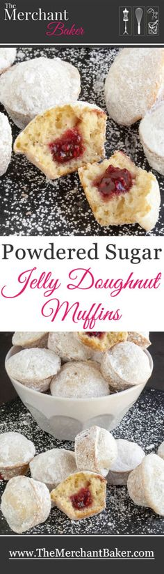 Powdered Sugar Jelly Doughnut Muffins. Mini melt in your mouth cake doughnuts bake up easily in a muffin pan!