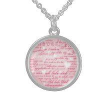 Words of Love Whimsical Designer Art Gift Pink Sterling Silver Necklace Innocent Originlas