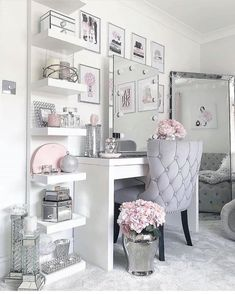 makeup room decor Home Decor Inspiration on Instag - roomdecor Bedroom Decor For Teen Girls, Girl Bedroom Designs, Room Ideas Bedroom, Diy Bedroom Decor, Luxury Bedroom Design, Interior Design, Pink Teen Bedrooms, Silver Bedroom Decor, Modern Teen Bedrooms