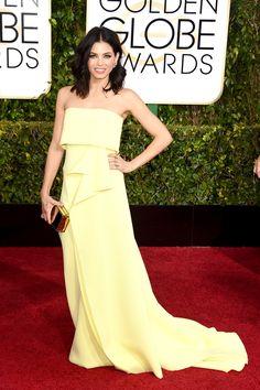 Carolina Herrera gown.  #refinery29  http://www.refinery29.com/2015/01/80587/golden-globes-2015-fashion-trend-yellow#slide-4  Jenna Dewan-Tatum is the epitome of elegance in her Carolina Herrera gown.