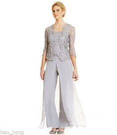 Plus Size Grey Mother of Bride Pant Suits Lace Outfit Formal Evening Party Gowns