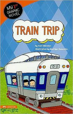 Train Trip (My 1st Graphic Novel series) by Cari Meister and illustrated by Marilyn Janovitz. Find this in the Beginning Reader section under EE MEI. Guided Reading Level - H