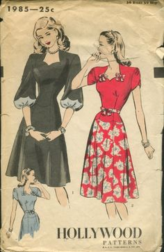 Hollywood 1985 1940s; One-Piece Dress. Six-piece skirt joins fitted bodice at scalloped hipline. Sweetheart neck-line featured with or without small bow trimming. Balloon-type sleeves feature wide scallop detail and are gathered to narrow bands. Short shaped sleeves wrap over and are gathered at top. Narrow tie belt.