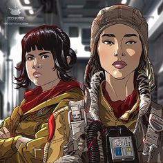 ARTIST: 800 Pound Productions aka Michael Pasquale |  via: #Yellowmenace |  ● See All 55+ Rebellious Artworks @ YM Blog > http://blog.yellowmenace.net/2017/12/asian-star-wars-art-collection-ii-last.html |  #StarWars #AsianInspired #fanart #illustration #digitalart #LastJedi #RoseTico