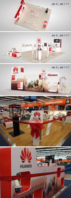 STEIN designed and implemented Shop-in-Shop systems for HUAWEI. Here you can see the way from our 3D-Model to the finished Shop-in-Shop area at Saturn Hamburg. #huawei #hamburg