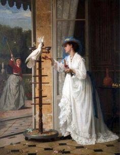 """The Pet Cockatoo"" by Joseph Caraud (1867)."