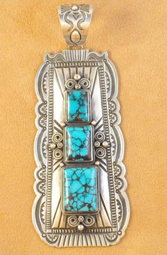 Navajo Sterling Silver Navajo Pendant Natural Tibetan Turquoise By Darrell Cadman