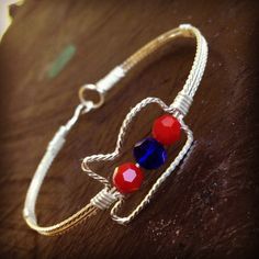 Ole Miss Bracelet Wire Wrapped MS Shaped State MS Bracelet Handmade