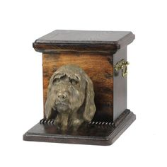Urn for dog's ashes with a standing statue -Grand Basset Griffon Vendeen, ART-DOG Cremation box, Custom urn. Cremation Boxes, Dog Cremation, Dog Urns, Brass Handles, Your Pet, Lion Sculpture, Statue, Pets, Collection