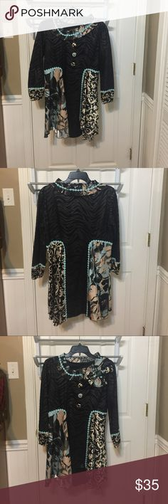 Custom one of a kind top Super cute black, tan, and blue dressy top with floral and zebra prints and matching corsage pin. The floral prints are a silky material. The black on black zebra print is a thin suede like material. custom Tops
