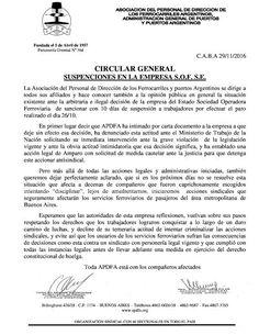 CRÓNICA FERROVIARIA: APDFA: Suspensión de personal en la empresa Trenes...