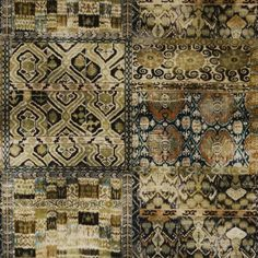 Rio Velvet Fabric A glorious printed velvet with a grid of tile-like patterns and motifs, shown in olive, black and brown.