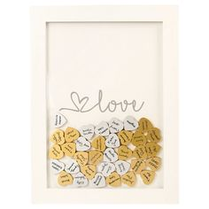 After the wedding, this unique Gold Love Heart Drop Guestbook will keep the signatures of treasured loved ones safe as a gorgeous piece of décor. 50th Wedding Anniversary, Anniversary Parties, Anniversary Ideas, Quinceanera, Cute Gifts, Diy Gifts, Unique Baby Shower, Guest Book Alternatives, My New Room