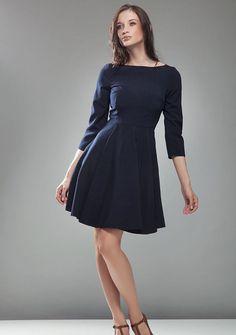 7b5cc7ad2414f Robe femme évasée mi longue bleu marine Audrey Manches 3 4 mode NIFE S19
