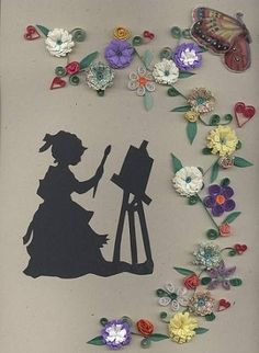 I love the idea - quilling with paper cutting silhouettes - nice