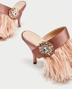 438aa48e219a HIGH HEEL MULES WITH FEATHER AND BROOCH DETAIL - SHOES