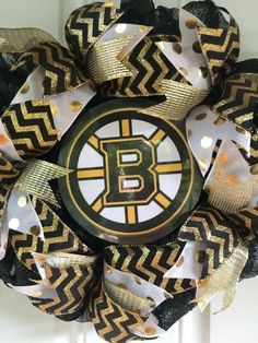 Boston Bruins Wreath, Black and Gold Wreath, Team Wreath, Game Day Wreath