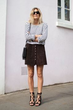 transition outfit work suede skirt breton stripe fashion me now square