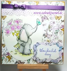 """""""Elephant with Bouquet"""" Whimsy Stamps; Paper Pad """"Paper Flowers"""" First Edition; Martha Stewart; """"Butterfly Cascade"""" Wild Rose Studio; Ribbon American Crafts; Sentiment Scrapberrys; """"XXL Ovals"""" Crealies; Darice dies"""