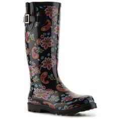 Poppie Jones Primary Splash Rain Boot - Black Paisley Print ❤ liked on Polyvore