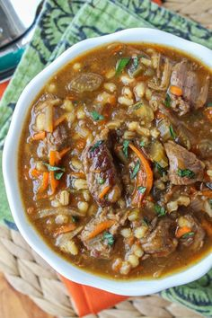 Beef Barley Soup (Slow Cooker) from the http://foodcharlatan.com on http://foodiecrush.com