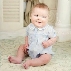 Oliver is toootin cute in his Feltman Brothers train romper! It's a vintage heirloom baby bubble you will love adding to your little boys collection! Available in blue or white in sizes 3m, 6m & 9m! http://www.feltmanbrothers.com/creeper-with-appliqued-train/