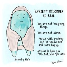 Anxiety-Blob-anxiety-disorder-is-real-Nanea-Hoffman-Sweatpants-&-Coffee Health Anxiety, Anxiety Tips, Anxiety Help, Stress And Anxiety, Social Anxiety Quotes, Depression And Anxiety Quotes, Teen Depression, Anxiety Therapy, Psychology Facts