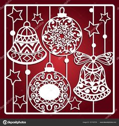 Christmas card with bells for laser cutting. Christmas gift for wood carving, paper cutting and christmas decorations - Buy this stock vector and explore similar vectors at Adobe Stock Christmas Stencils, Christmas Templates, Christmas Paper, Christmas Love, Christmas And New Year, All Things Christmas, Christmas Ornaments, Christmas Trees, Papercut Art