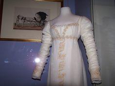 beautiful gold-trimmed regency gown