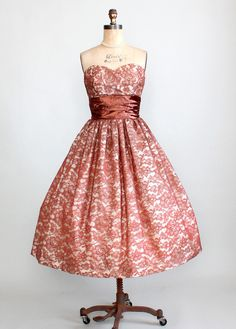 Vintage 1950s Strapless Coppery Brown Lace Party Dress