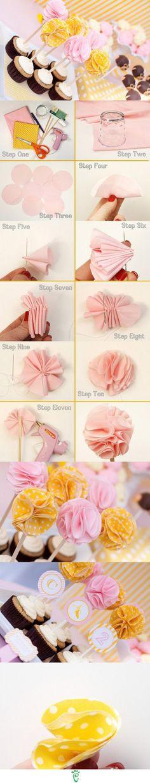 Cupcake toppers DIY flowers