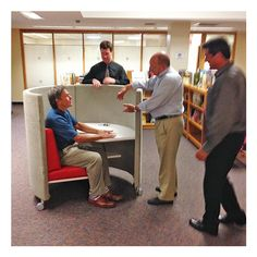 Joe Agati and Tom Whitermore show Chuck O'Brien (Director of Milne Library) and Chris Hayes The POD at SUNY Oneonta. http://www.agati.com/pod-workstation/