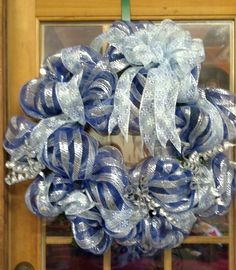 Deco Mesh Wreath for the holidays in silver and blue