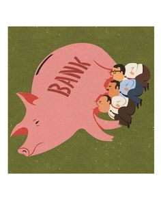 Piggy bankers by JohnHolcroftPrints on Etsy #editorial #conceptual #illustration #greed #corporate #satire