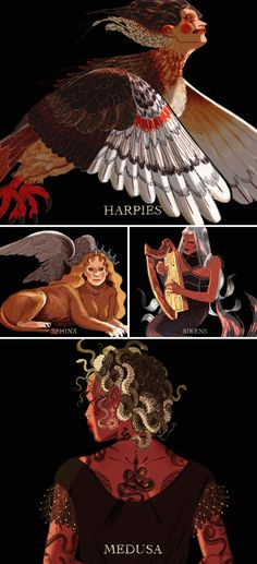 Monsters of Greek mythology. Greek And Roman Mythology, Greek Gods, Character Inspiration, Character Art, Character Design, Mythological Creatures, Mythological Monsters, Magical Creatures, Greek Mythical Creatures