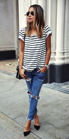 this boyfriend jeans outfit is so cute! clothing canada 10 Super Chic Ways To Wear Boyfriend Jeans - Cute Tomboy Outfits, Casual Outfits, Summer Outfits, Casual Jeans, Simple Outfits, Flats Outfit, Outfit Jeans, Black Heels Outfit, Heels Outfits