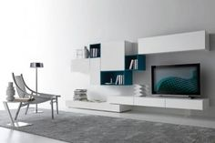 Contemporary Modular Wall Unit Design for Living Room Furniture, Modus Collection by Presotto