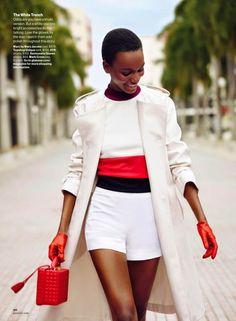 Tanzanian model Herieth Paul rocks a few stylish coats for Glamour USA February 2015 Issue