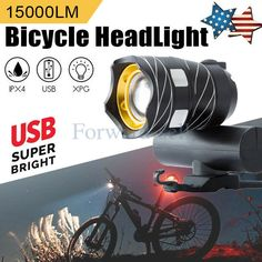 USB Rechargeable LED Bike Bicycle Cycling Headlamp Headlight Tail Light Lamp m0