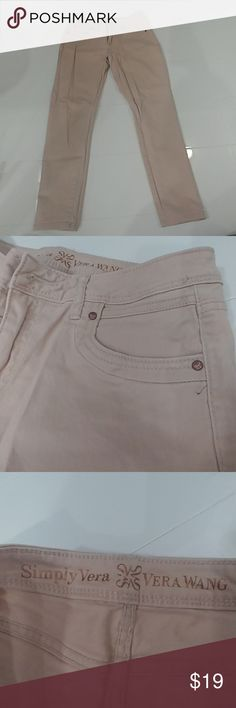 Vera Wang pale pink skinny ankle jeans Like new. Only worn a few times.  Size 6 skinny ankle jeans Vera wang Shop this look in my closet, watch and shirt available as well! Vera Wang Jeans Skinny
