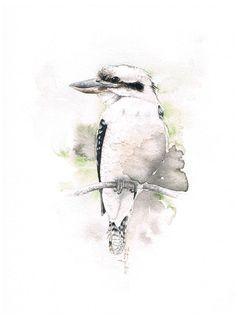 Kookaburra-Original-Aquarell Malerei kostenloser Versand