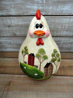 Handpainted Primitive Folk Art Chicken Saltbox Sheep Doll Gourd