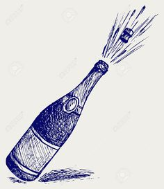 Illustration of Champagne explosion. Doodle style vector art, clipart and stock vectors. Wine Tattoo, Bottle Tattoo, Graphic Design Projects, Design Graphique, Chalkboard Art, Doodle Drawings, First Tattoo, Amazing Art, Awesome