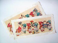 Pair of Vintage Prints of Little Girls Doing Crafts by PoorLittleRobin, $8.00